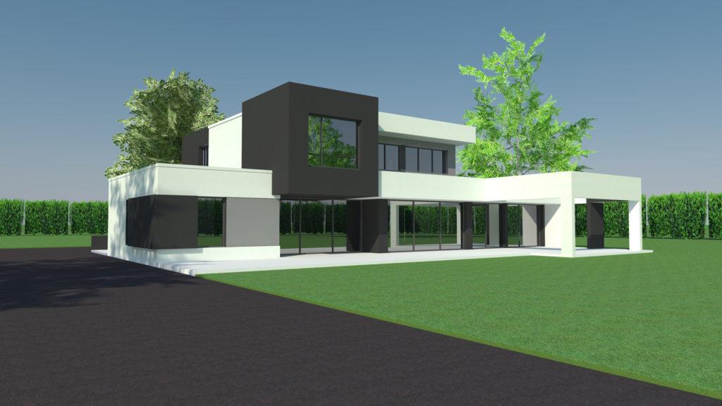 Construction maison prestige cubique à Quincampoix (Architecte M.I. CAD)